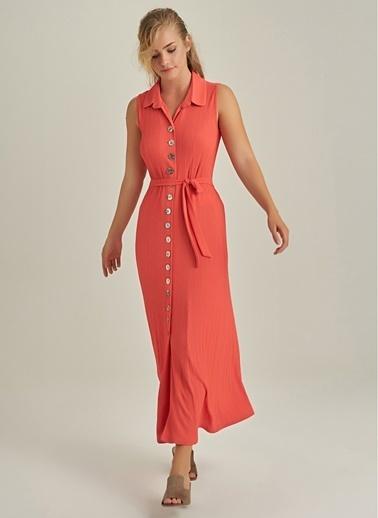 NGSTYLE Düğme Detaylı Elbise Mercan